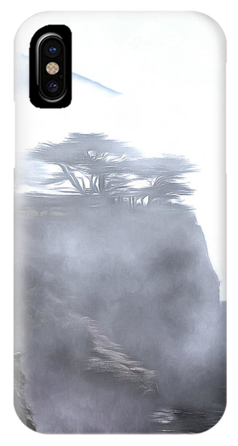 Ragged Shore In Vertical Format IPhone X Case featuring the painting Ragged Shore In Fog by Viktor Savchenko