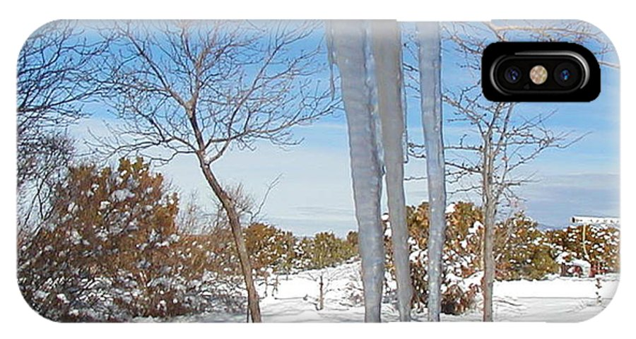 Icicle IPhone Case featuring the photograph Rain Barrel Icicle by Diana Dearen