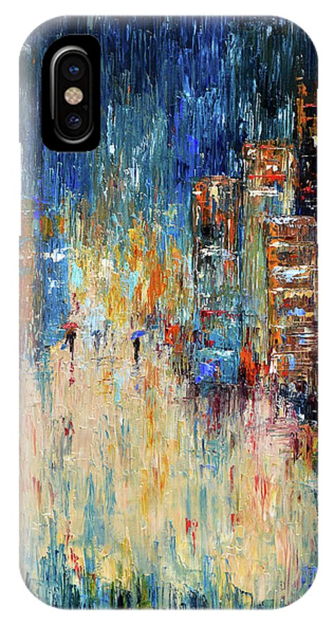 Abstract Painting IPhone X Case featuring the painting Rain Dance Blues by Debra Hurd