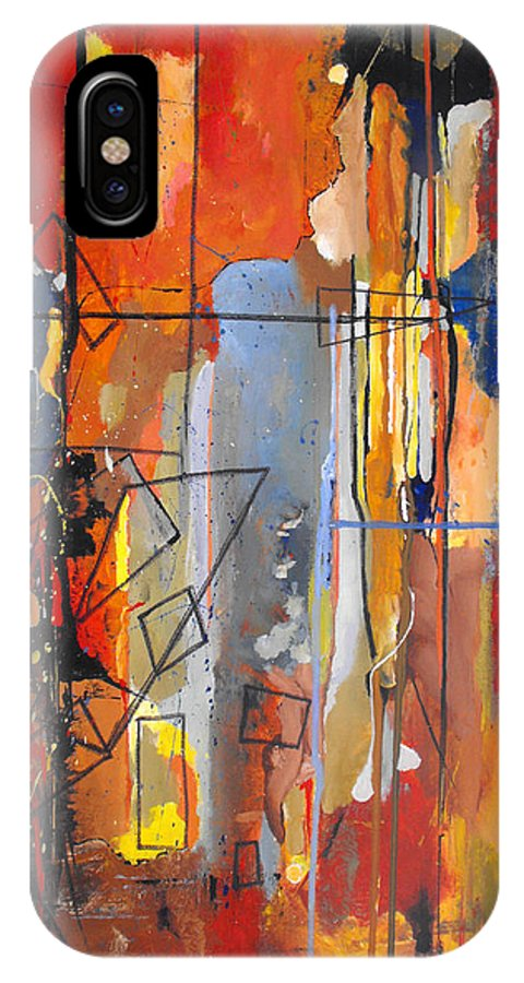 Abstract IPhone X Case featuring the painting Rain Down by Ruth Palmer