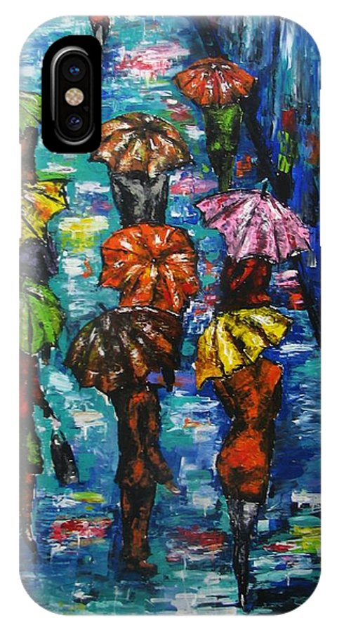 Rain IPhone X Case featuring the painting Rain Fantasy Acrylic Painting by Natalja Picugina