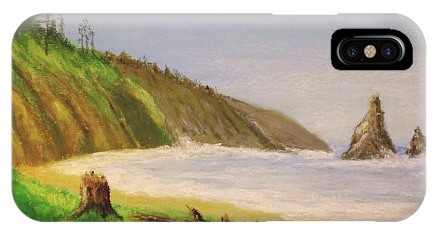 Washington IPhone X Case featuring the pastel Rain Forest Meets The Sea by Marc Fournier