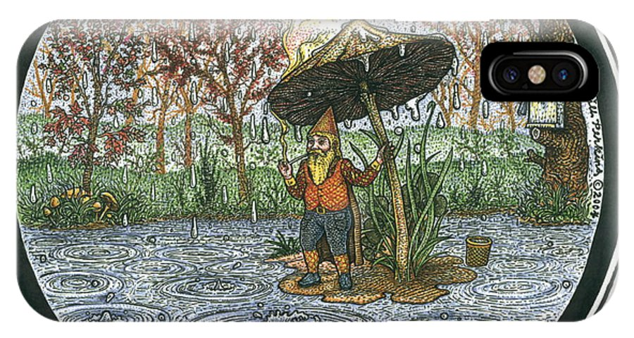 Rain IPhone X Case featuring the drawing Rain Gnome Rain Circle by Bill Perkins