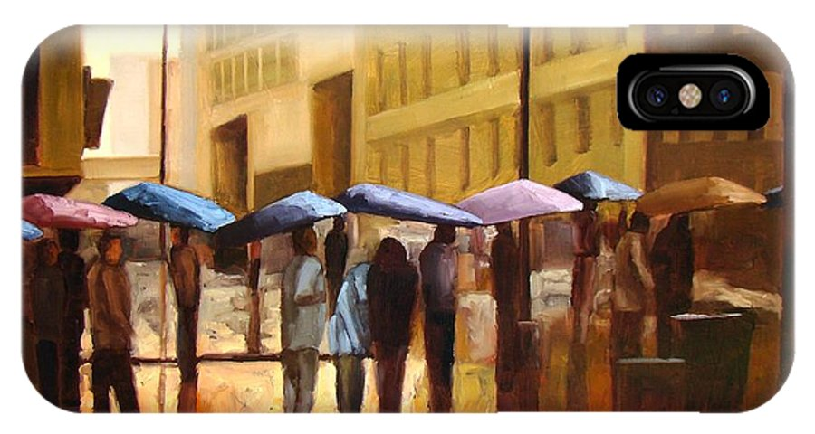 Cityscape IPhone X Case featuring the painting Rain in Manhattan number seventeen by Tate Hamilton