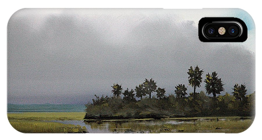 Landscape IPhone X Case featuring the painting Rain On The Way by Glenn Secrest