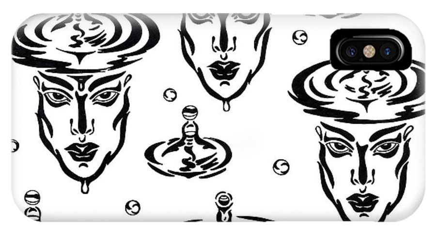 B&w IPhone X Case featuring the drawing Rain by Yelena Tylkina