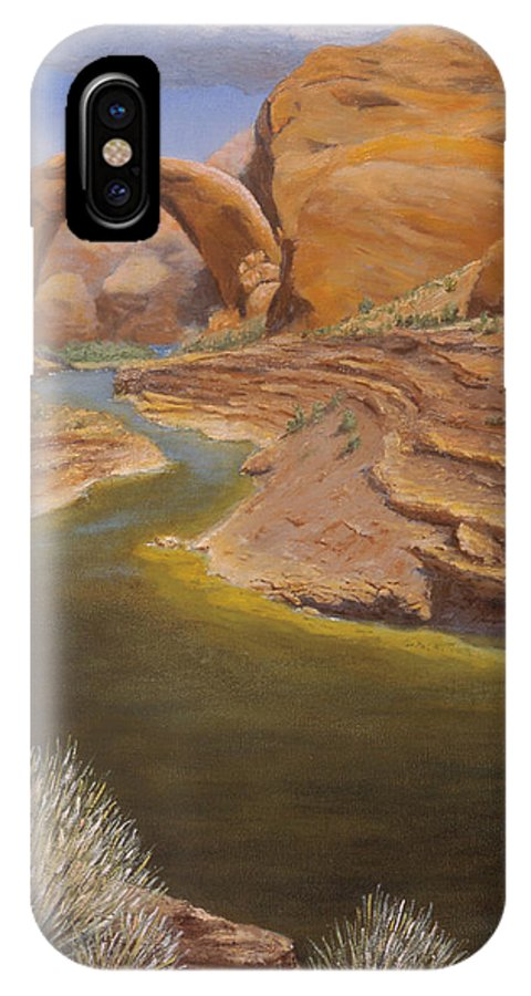 Rainbow Bridge IPhone Case featuring the painting Rainbow Bridge by Jerry McElroy