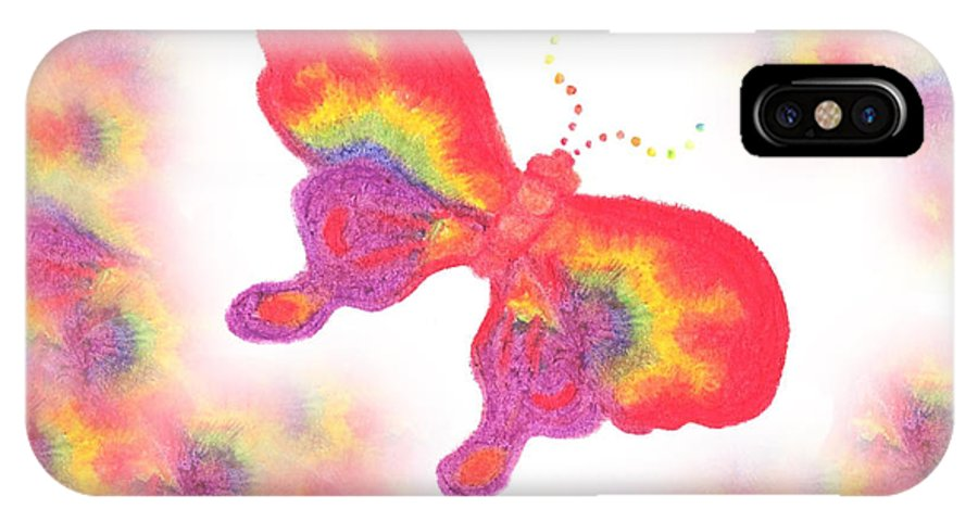Rainbows IPhone Case featuring the pastel Rainbow Buterfly by Chandelle Hazen