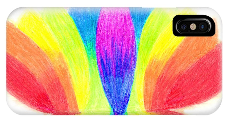 Lotus IPhone X Case featuring the pastel Rainbow Lotus by Chandelle Hazen