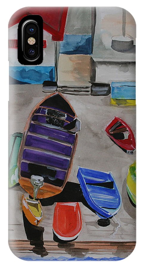 Boats IPhone X Case featuring the painting Rainbow On The Dock by Jean Blackmer