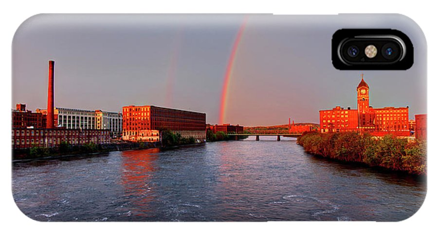 Lawrence IPhone X Case featuring the photograph Rainbow Over Lawrence, Massachusetts by Denis Tangney Jr