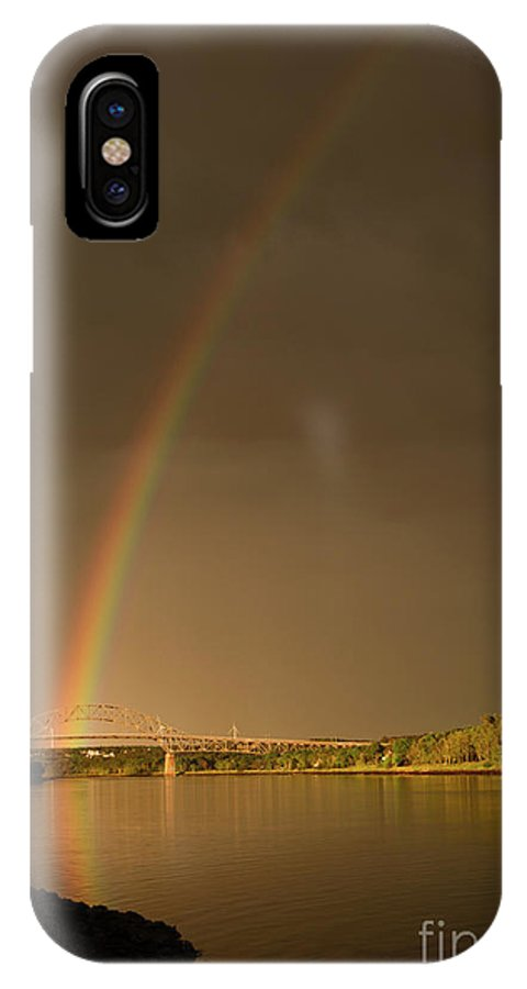 Rainbow IPhone X Case featuring the photograph Rainbow Over Sagamore Bridge, Cape Cod by Michelle Himes
