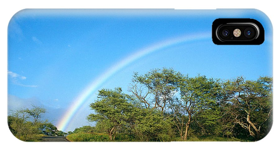 Arch IPhone X Case featuring the photograph Rainbow Over Treetops by Peter French - Printscapes