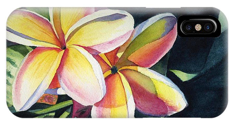 Rainbow IPhone Case featuring the painting Rainbow Plumeria by Marionette Taboniar