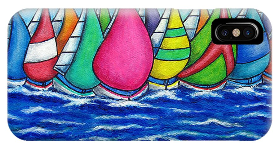 Boats IPhone X Case featuring the painting Rainbow Regatta by Lisa Lorenz