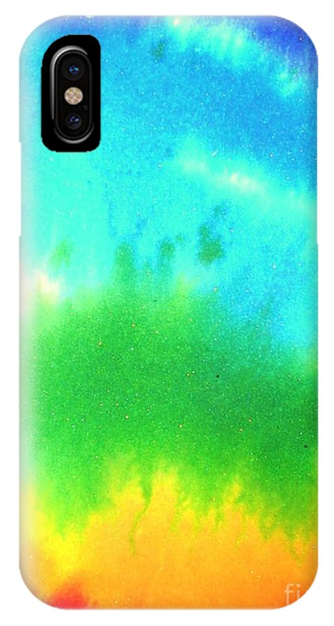 Rainbow's IPhone X Case featuring the painting Rainbow Wash by Chandelle Hazen