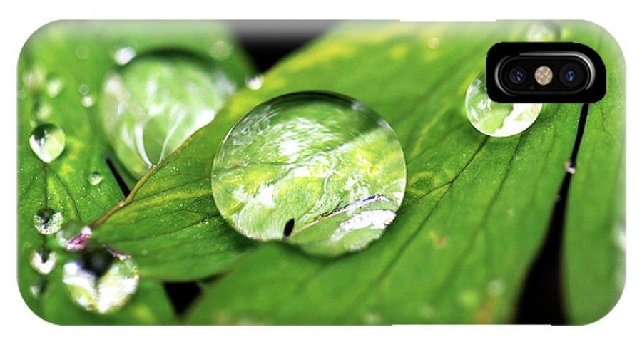 Macro IPhone X / XS Case featuring the photograph Raindrop by John Rizzuto