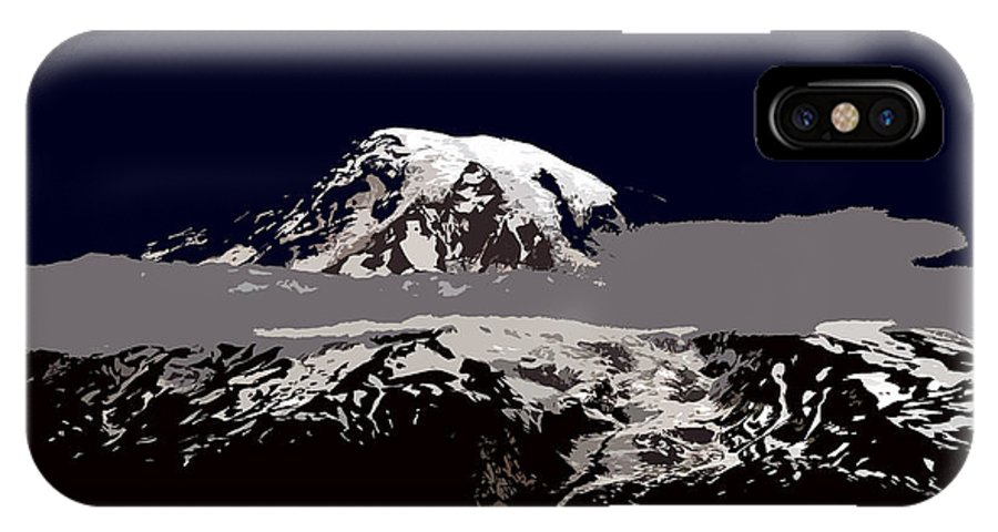 Mt Rainier IPhone X Case featuring the painting Rainier by David Lee Thompson