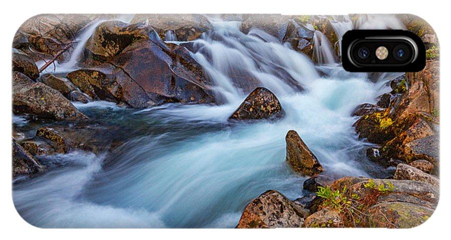 Waterfall IPhone X Case featuring the photograph Rainier Runoff by Darren White