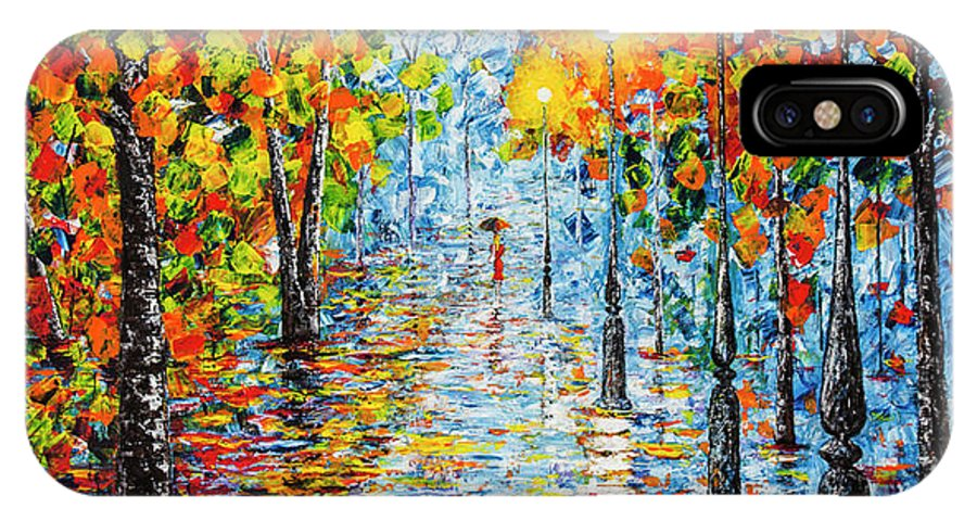 Rainy Evening IPhone X Case featuring the painting Rainy Autumn Evening In The Park Acrylic Palette Knife Painting by Georgeta Blanaru
