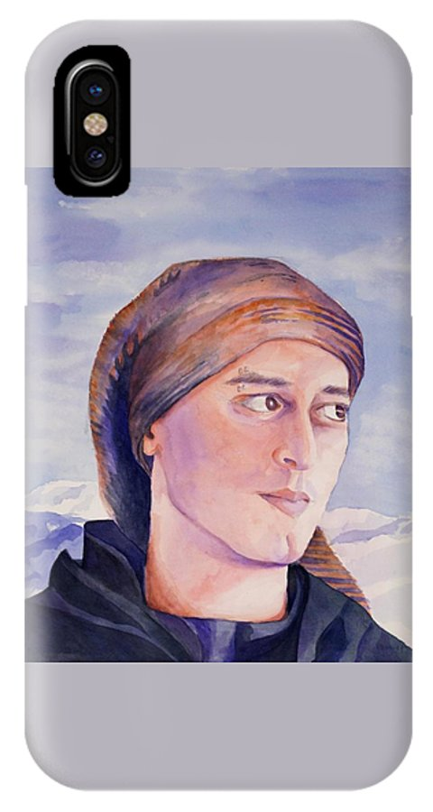 Man In Ski Cap IPhone X / XS Case featuring the painting Ram by Judy Swerlick