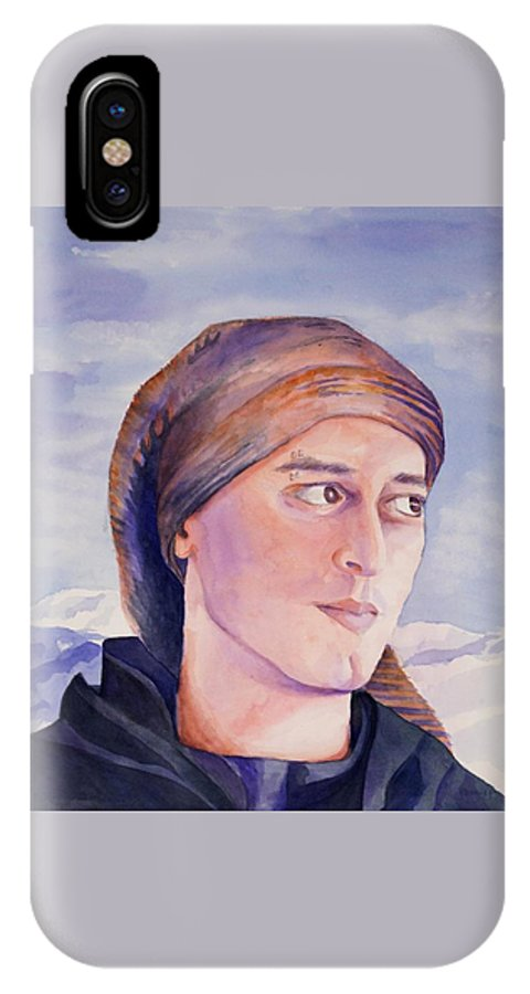 Man In Ski Cap IPhone X Case featuring the painting Ram by Judy Swerlick