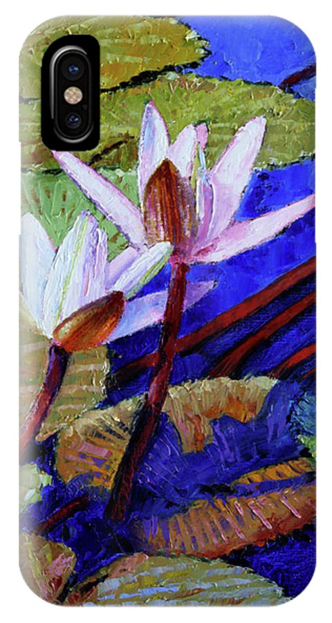 Water Lilies IPhone X Case featuring the painting Random Beauty by John Lautermilch