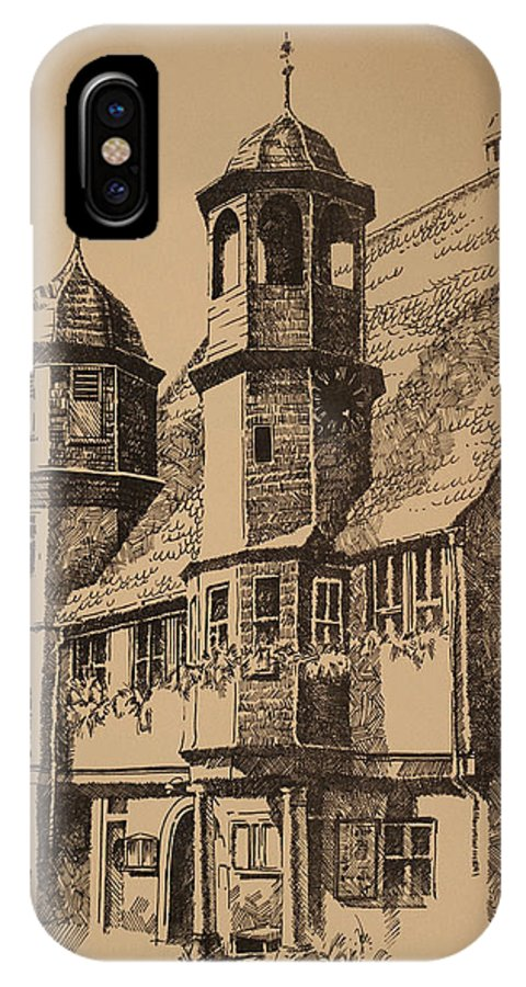 Rathaus IPhone X Case featuring the drawing Rathaus by Michael Lang