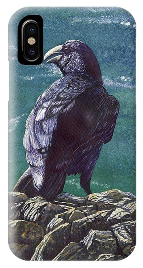 Bird IPhone X Case featuring the painting Raven by Catherine G McElroy
