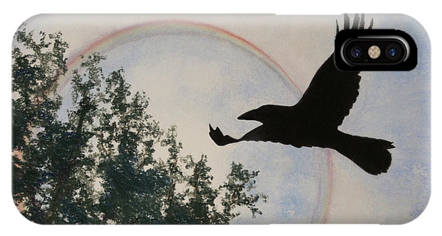 Raven IPhone X Case featuring the painting Raven Holds The Sun by Stanza Widen