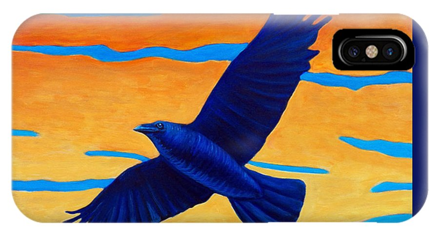 Raven IPhone X Case featuring the painting Raven Rising by Brian Commerford