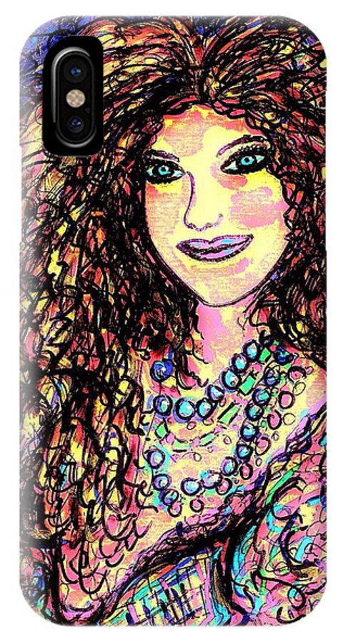 Woman IPhone X Case featuring the painting Ravishing Beauty by Natalie Holland