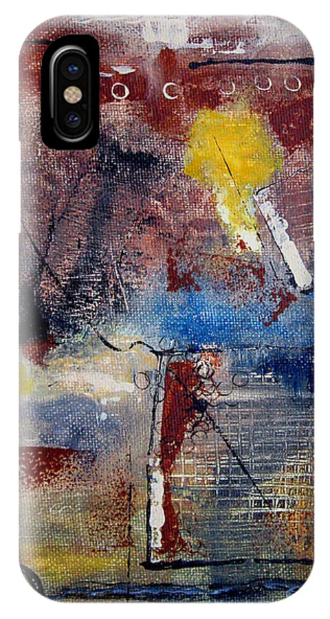 Abstract IPhone X / XS Case featuring the painting Raw Emotions II by Ruth Palmer