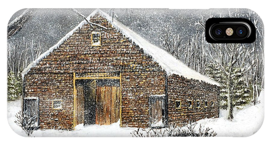 Barns IPhone X Case featuring the painting Ray Emerson's Old Barn by Jack Skinner