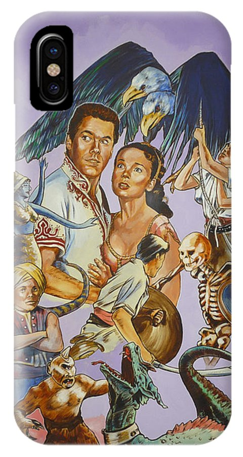 Movie IPhone Case featuring the painting Ray Harryhausen Tribute Seventh Voyage Of Sinbad by Bryan Bustard