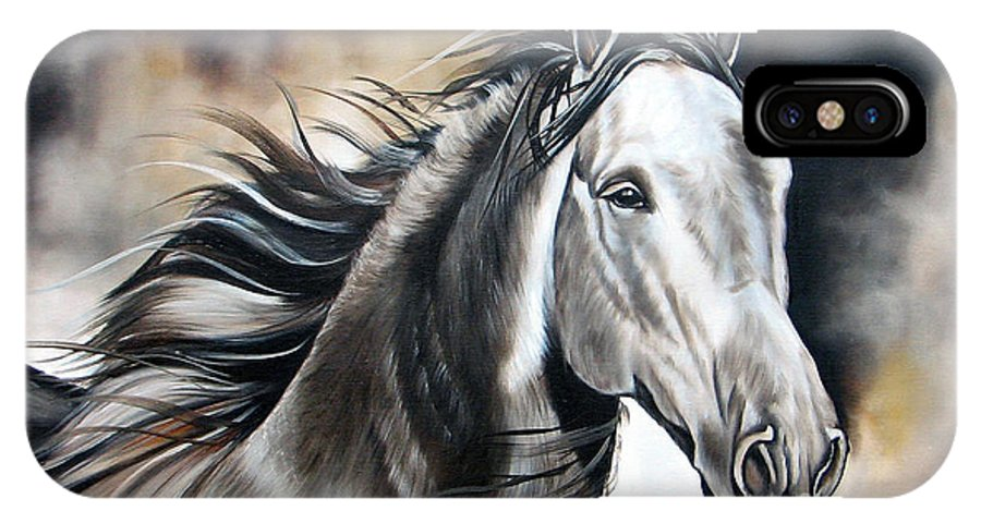 Horse IPhone X Case featuring the painting Razor by Ilse Kleyn