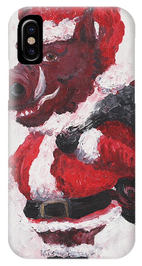 Santa IPhone X Case featuring the painting Razorback Santa by Nadine Rippelmeyer