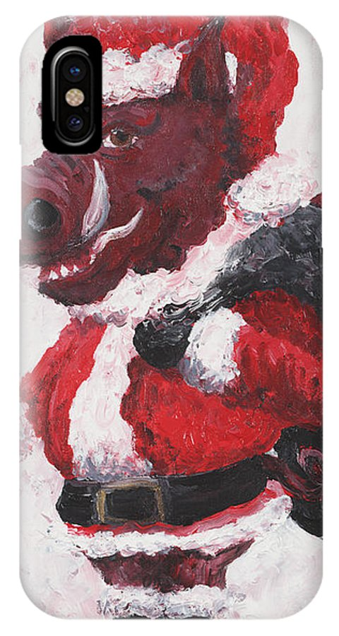 Santa IPhone X / XS Case featuring the painting Razorback Santa by Nadine Rippelmeyer