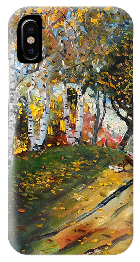 Reading IPhone X Case featuring the painting Reading In The Park by Ylli Haruni