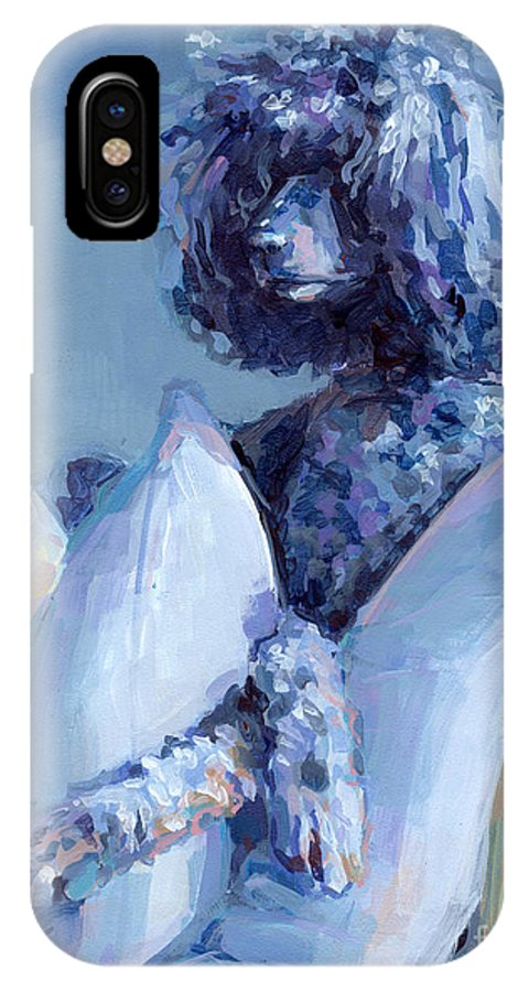 Black Dog IPhone X / XS Case featuring the painting Ready For Her Closeup by Kimberly Santini
