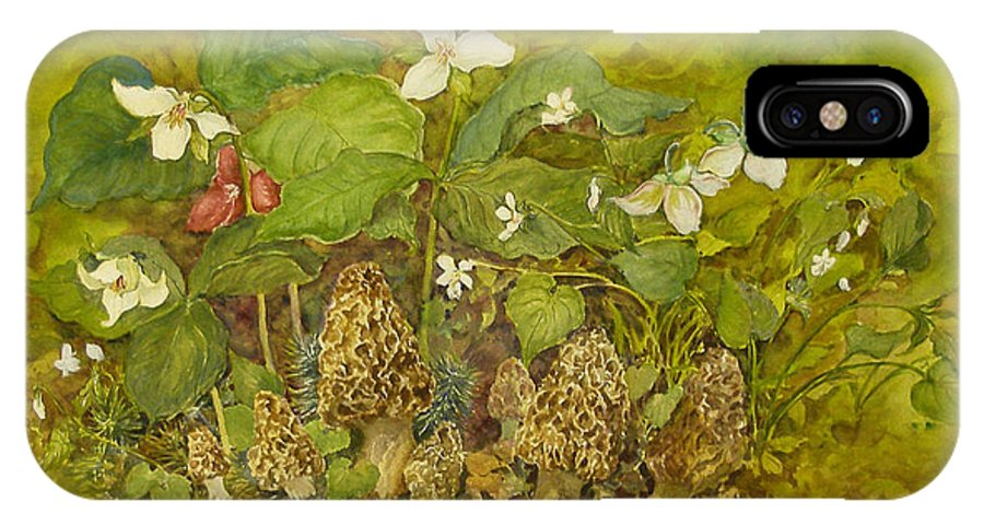 Mushrooms;trillium;spring;violets;woods;woodland;morels;watercolor Painting; IPhone Case featuring the painting Ready For Pickin' by Lois Mountz