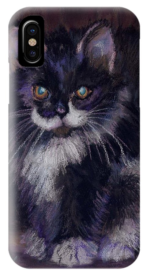 Kitten IPhone X Case featuring the painting Ready For Trouble by Sharon E Allen