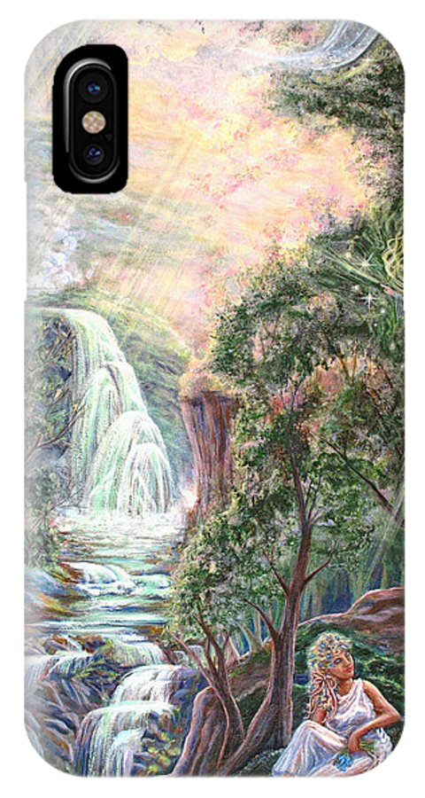 Spiritual IPhone X Case featuring the painting Ready To Fly by Joyce Jackson