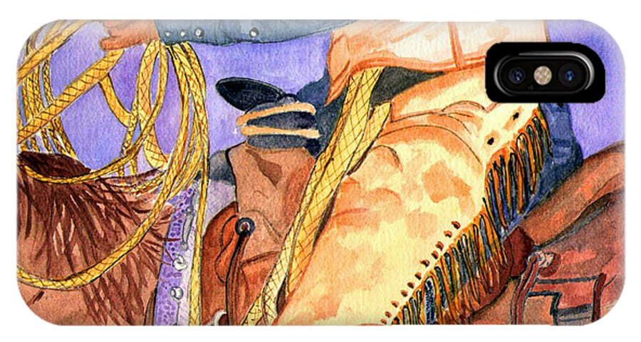 Cowboys IPhone X Case featuring the painting Ready To Ride by Arlene Wright-Correll