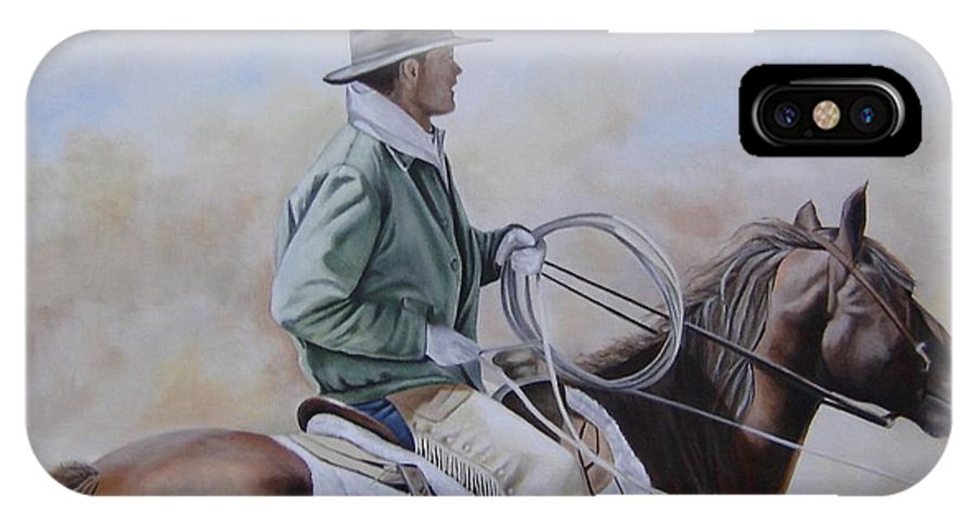 Ranch IPhone X Case featuring the painting Ready To Rope by Mary Rogers