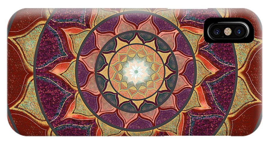 Mandala IPhone X Case featuring the digital art Realm Of The Desert Lotus Mandala by Elizabeth Alexander
