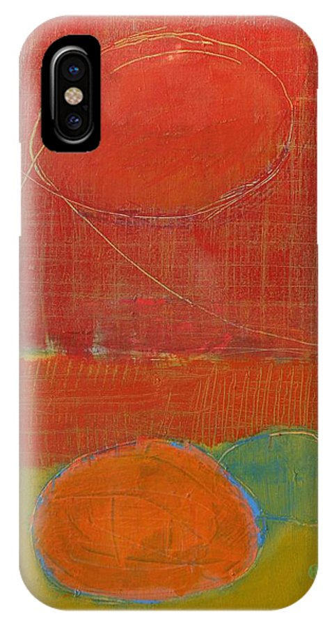 Abstract IPhone X Case featuring the painting Rebirth by Habib Ayat