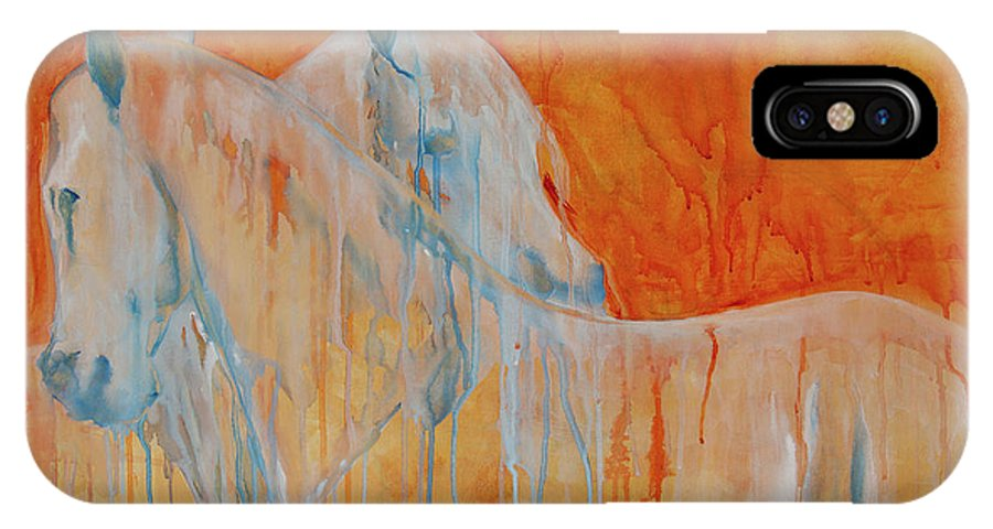 Horse IPhone X Case featuring the painting Reciprocity by Jani Freimann