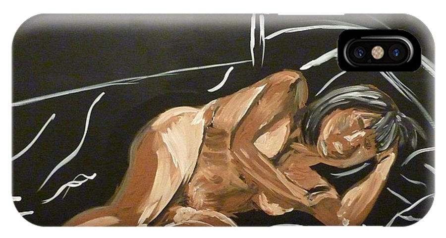 Nude IPhone X Case featuring the painting Reclining Nude by Joshua Redman