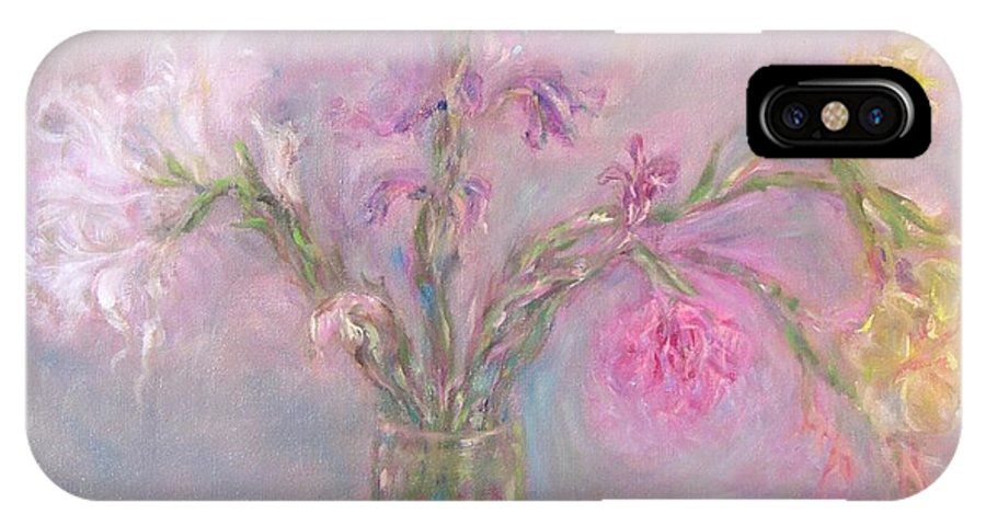 Pink IPhone X Case featuring the painting Recollection Of The Dreamy Bloom by Sukalya Chearanantana